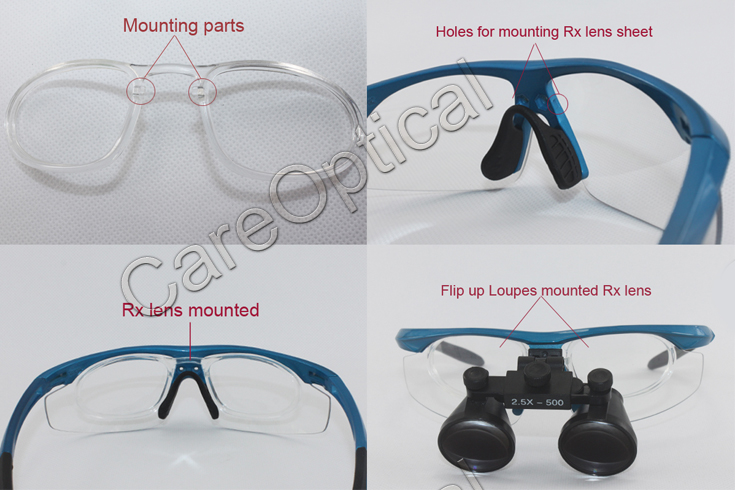 Flip up dental loups surgical loupes 2.5X with Rx Lens