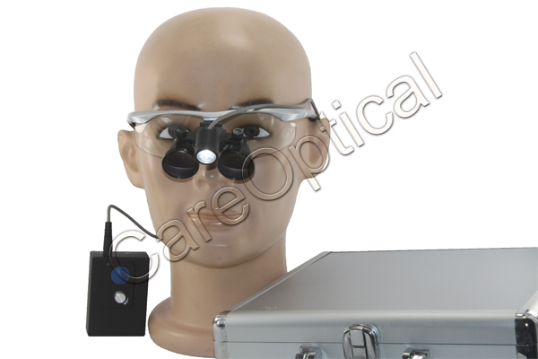 flip up dental surgical loupes with lights packing