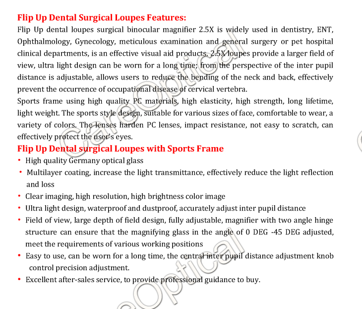 Flip Up dental loupes surgcal loupes 2.5X Sports frames