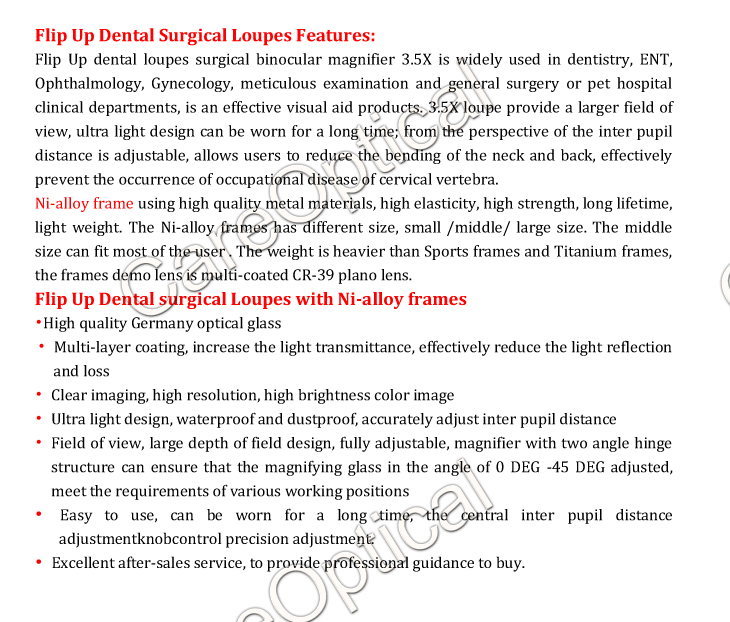 Flip up dental loupes surgical loupes Ni-alloy frames