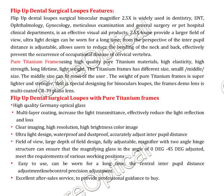 flip up dental loupes surgical loupes Titanium frames
