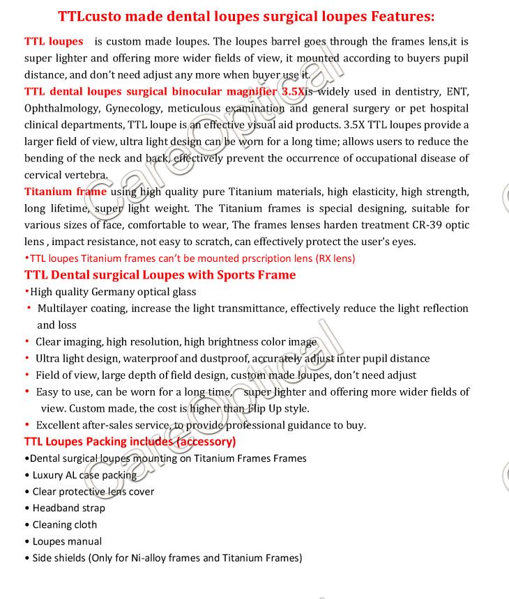 TTL dental loupes surgical loupes titanium frames 3.5X