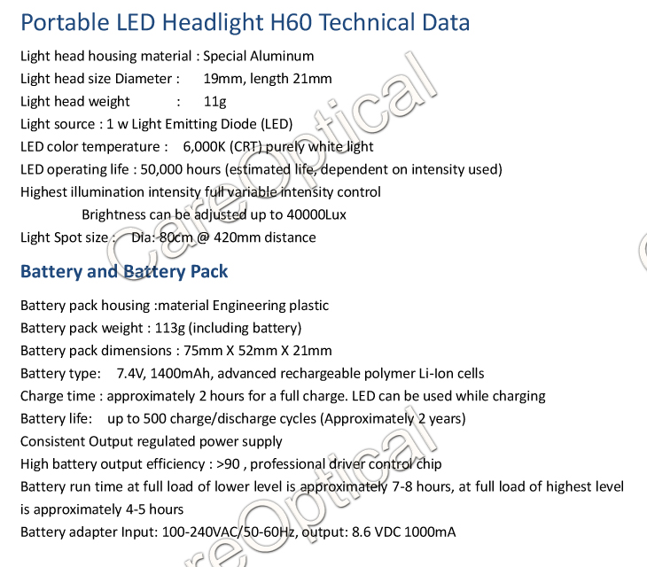 portable dental light surgical headlights H60