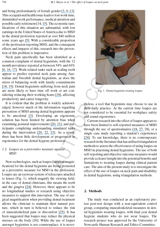 The effect of loupes on neck painand disability among dental hygienists
